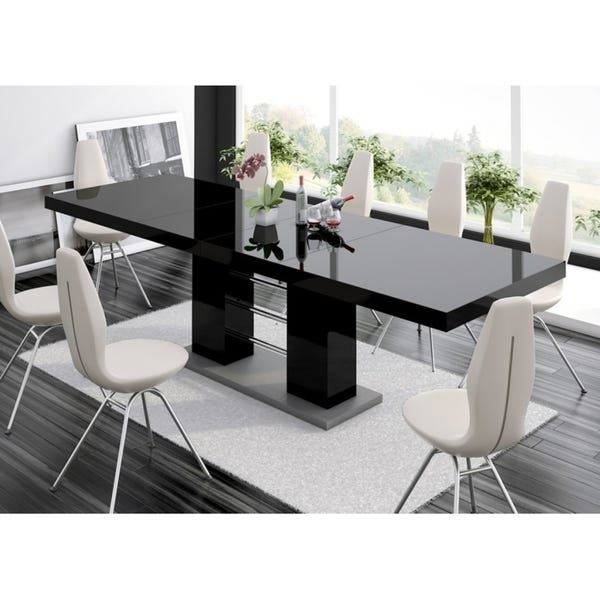 Shop LINOSA High Gloss Dining Table with Extension - Black .