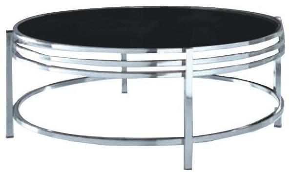 Modrest Dena Contemporary Black Glass Round Coffee Table .