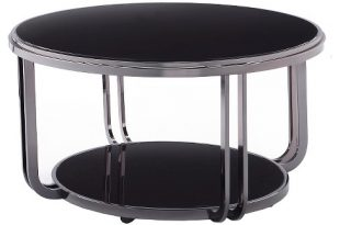 Concord Black Glass Top Round Coffee Table Black - Inspire Q : Targ