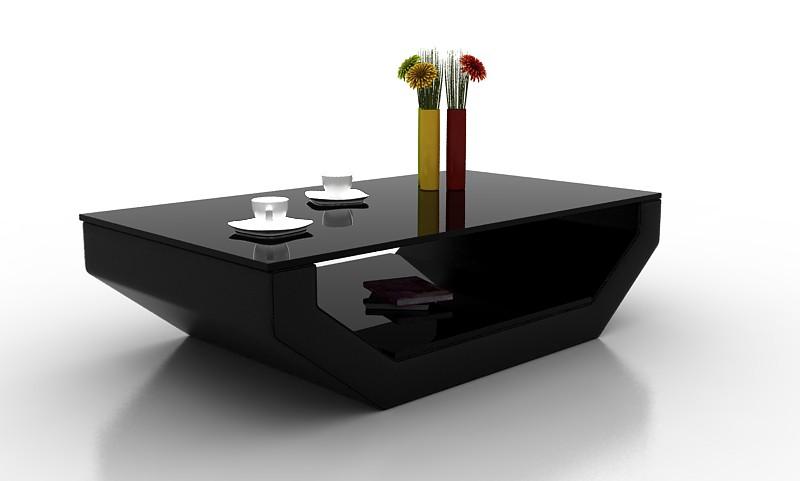 Divani Casa EV32 Modern Black Bonded Leather Coffee Table w/ Glass T