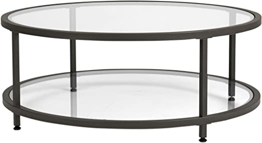 Amazon.com: Studio Designs Home Camber Round Glass Coffee Table In .