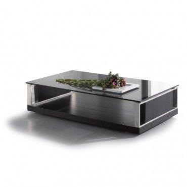 Modern Rectangular Black Glass Coffee Table Principle | Black .
