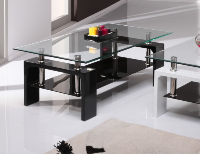 Elegant Black And Glass Coffee Table - Creative Design Structur