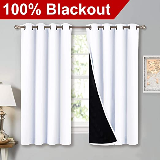 Amazon.com: NICETOWN White 100% Blackout Lined Curtains, 2 Thick .