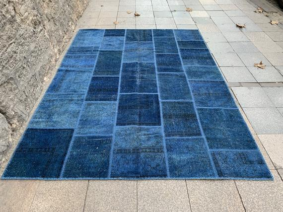 7.8X10.5 Feet Vintage Overdyed Dark Blue Carpet Dark Blue Rug | Et