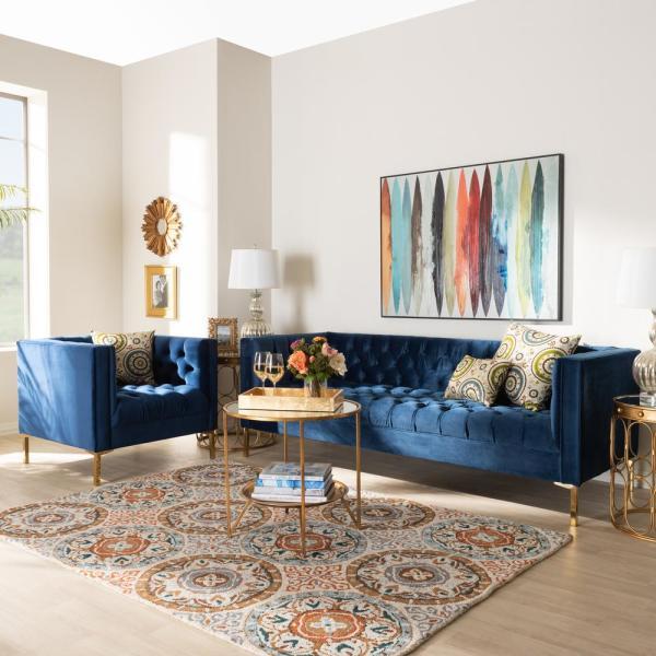 Baxton Studio Zanetta 2-Piece Royal Blue and Gold Living Room Set .