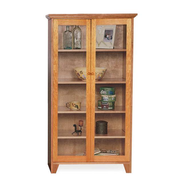 Custom Glass Door Shaker Bookcase | Natural Cherry, Walnut, Oak or .