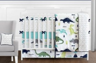 Blue and Green Mod Dinosaur - 9 Piece Baby Boy or Girl Bedding .