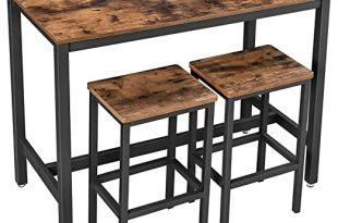 Amazon.com: VASAGLE ALINRU Bar Table Set, Bar Table with 2 Bar .