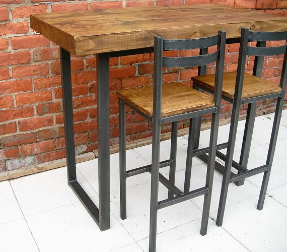 Breakfast bar table & bar stools rustic by Redcottagefurniture .