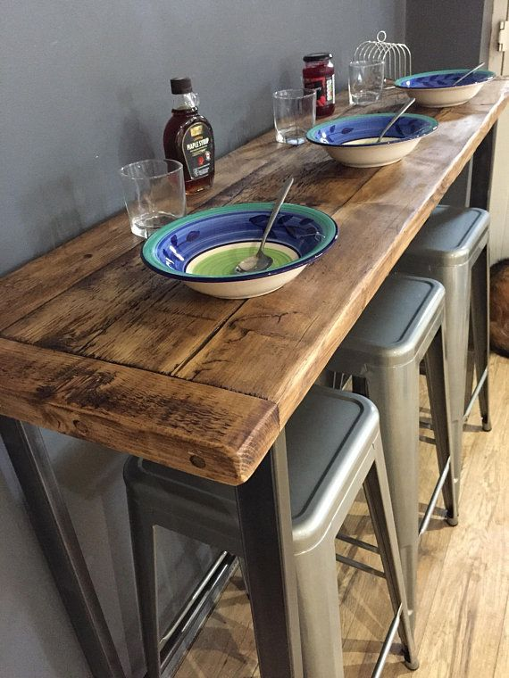 Reclaimed Wood Breakfast Bar Table in 2020 | Breakfast bar table .