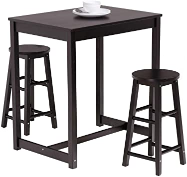 Amazon.com - Mecor 3-Peice Pub Table Set, Wood Dining Breakfast .