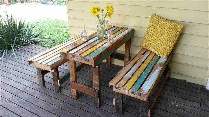 Pallet Outdoor Breakfast Set - Patio Furniture - Easy Pallet Ide