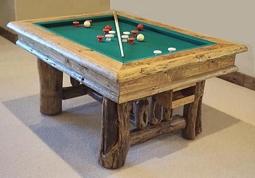 Rustic Bumper Pool Table with slate, built from naturally .