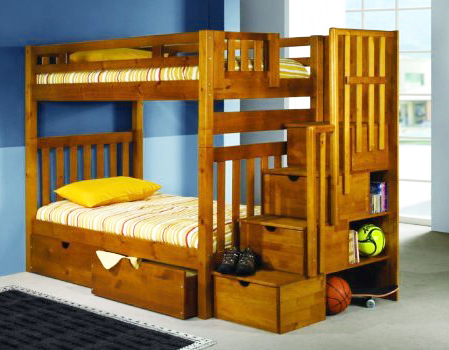 Casey Honey Pine Twin Bunk Bed with Ste