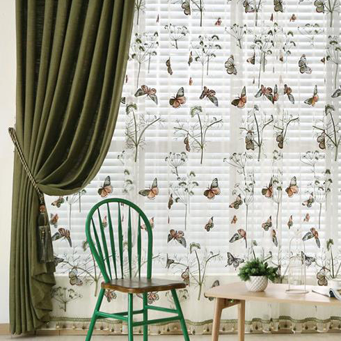 Beautiful Green Butterfly Embroidered Sheer Curtai