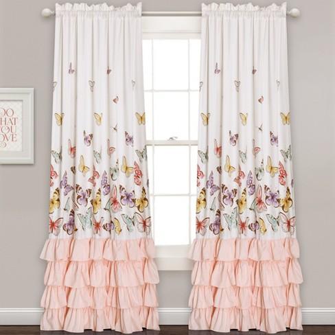 "2pc 84""x52"" Flutter Butterfly Window Curtain Set Pink - Lush Dcor ."