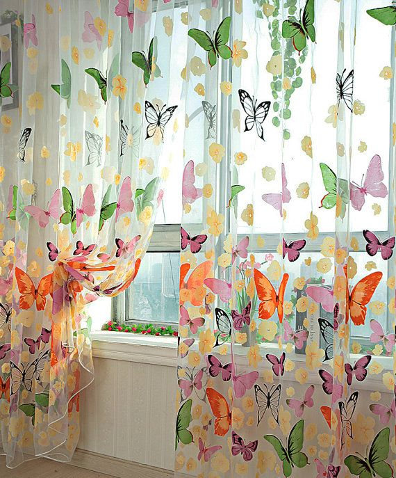 Colorful Butterfly Sheer Curtains. Voile Sheer Panels With .