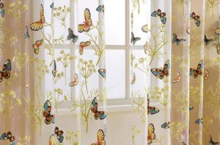 Home Window Decor Voile Valance Tulle Floral Butterfly Sheer .