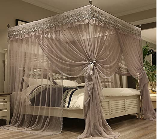 Amazon.com: Mengersi Princess 4 Corners Post Bed Canopy Bed .