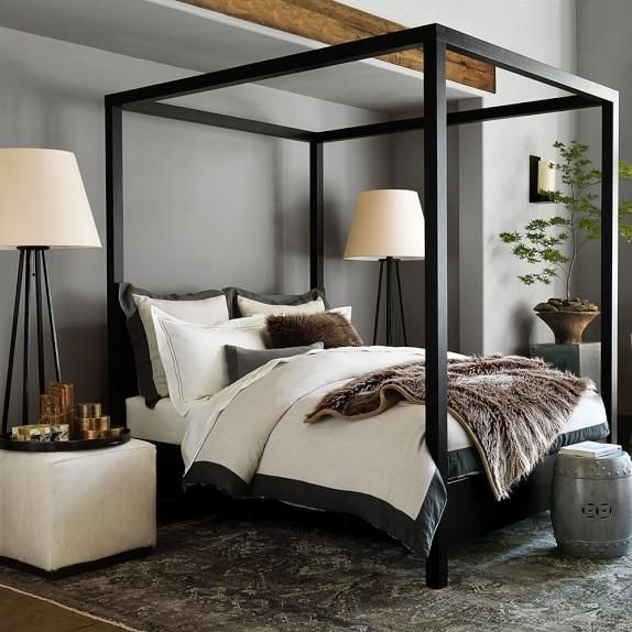 Keating Canopy Bed in Black | Remodel bedroom, Modern canopy bed .