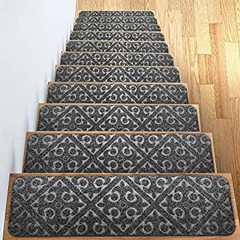 "TreadSafe Carpet Stair Treads Non-Slip | 8""x30"" Set of 15 | Gray ."