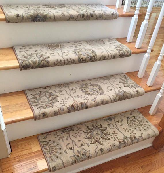 Authentic Wool Satin CreamTRUE Bullnose™ Carpet Stair Tread .