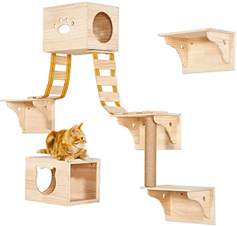 Amazon.com : TINTON LIFE 9pcs Wall Wood Cat Climber Set - 2 Cat .