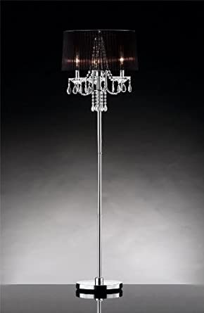 "60""h Crystal Chandelier w/ 18""dia Sheer Floor Lamp Black Shade on ."