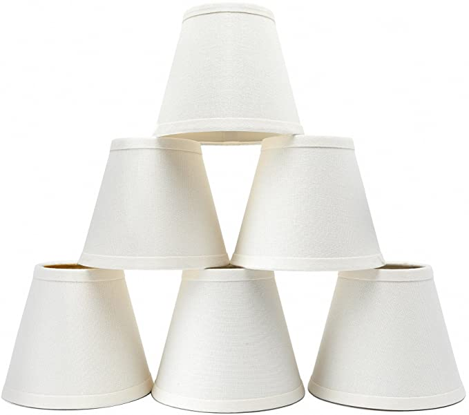 Set of 6 Linen Chandelier Shades, Eurus Home Pendant Lamp Shades .