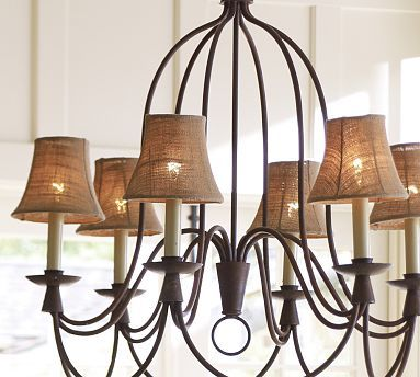 Mini Burlap Chandelier Shade, Set of 3 #potterybarn. This is .