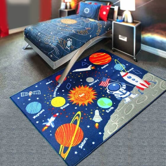 Shop Blue Solar System Kids Area Rug Educational Learning Carpet .