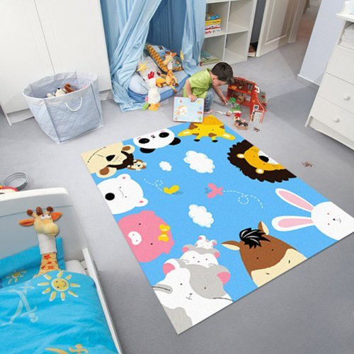 Kids Rugs Environmental Friendly Animals Cartoon Theme Kids Carpet .