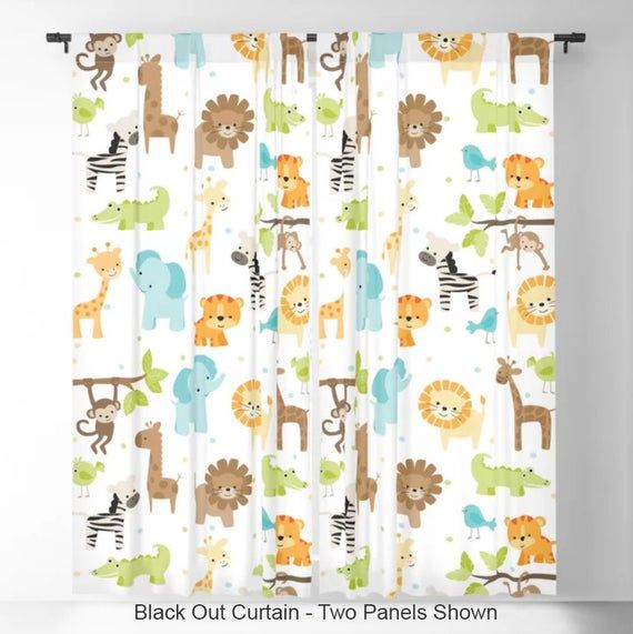 Jungle Animals Kids Curtains, Nursery Curtains, Baby Curtains .