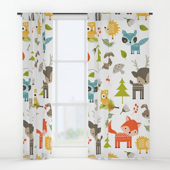 Animals Curtains, Woodland Animals Window Curtains, Animals Drapes .