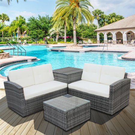 Patio Furniture Sets Clearance, 4 PCS Outdoor Rattan Wicker .
