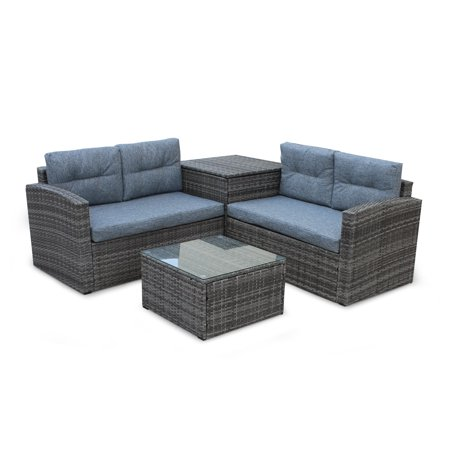 Gray Wicker Patio Furniture Sets on Clearance, 2019 Upgrade New 4 .
