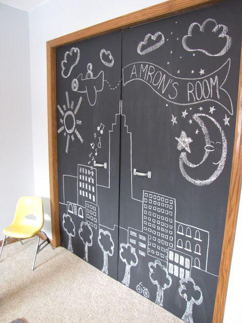 DIY Chalkboard Closet Doors | Diy closet doors, Closet door .