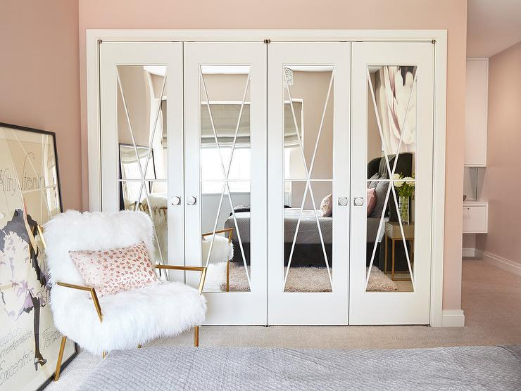 Mirrored Closet Doors with X Trim - Contemporary - Girl's Ro