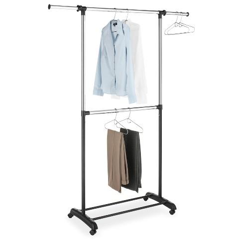 Whitmor Double Rod Adjustable Garment Rack - Black And Chrome : Targ