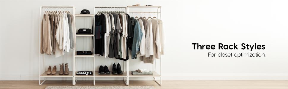 Amazon.com: IRIS USA Metal Garment Rack with Wood Shelves, White .