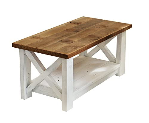 Amazon.com: Farmhouse coffee table with White Base X made from .