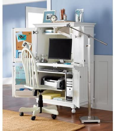 Amazon.com: Hampton Computer Armoire (WHITE): Kitchen & Dini