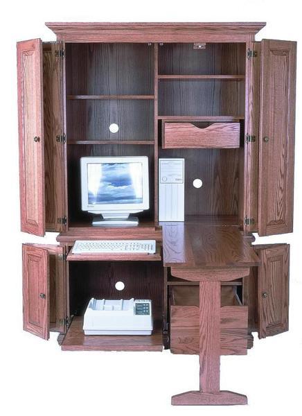 "Amish 51"" Deluxe Computer Armoire De"