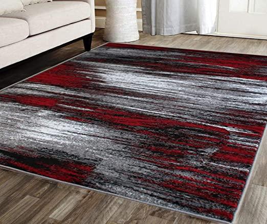 Amazon.com: Masada Rugs, Modern Contemporary Area Rug, Red Grey .