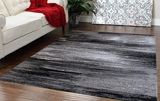 Amazon.com: Masada Rugs, Modern Contemporary Area Rug, Grey Black .