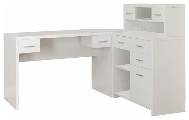 Sleek White Finished L-Shaped Corner Office Desk, Storage .