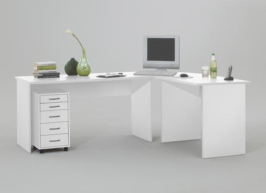 Contemporary White Corner Desks | White corner desk, Home office .