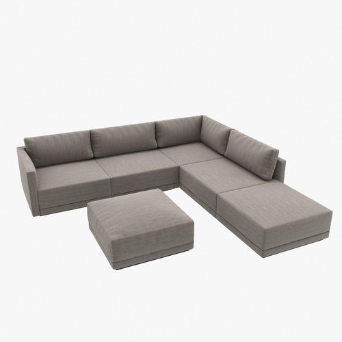 Custom made modern corner sofa with ottoman upholsterd in grey t .