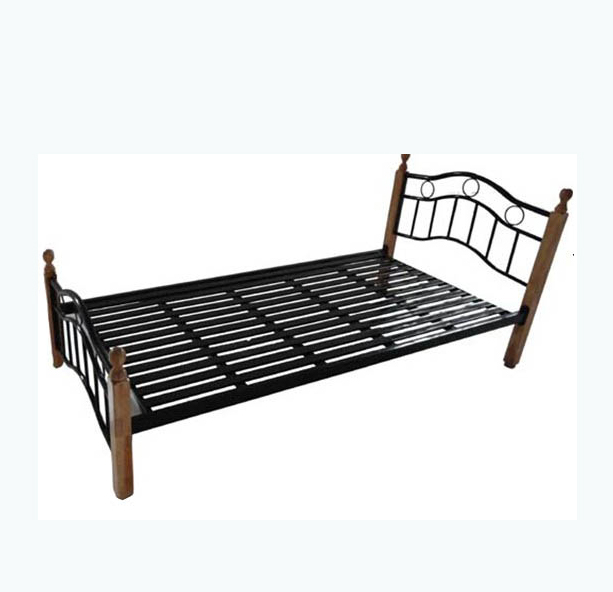 Metal Frame Single Cot Bed With Wood Legs - Buy Single Cot Bed .